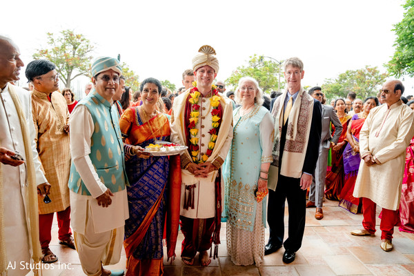 Indian groom and family members at the baraat celebration.