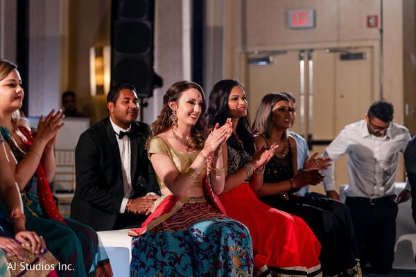 Indian bridesmaids at reception party.