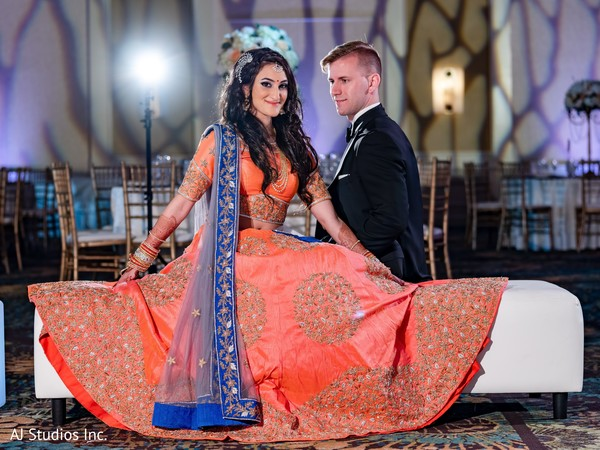 Lovely Indian couple at their wedding reception.
