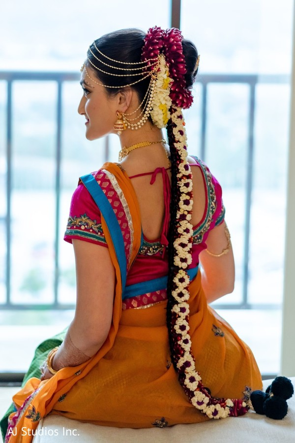 Magnificent Indian bridal hair style flowers.