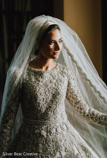 Magnificent Indian bride on her Muslim wedding dress.