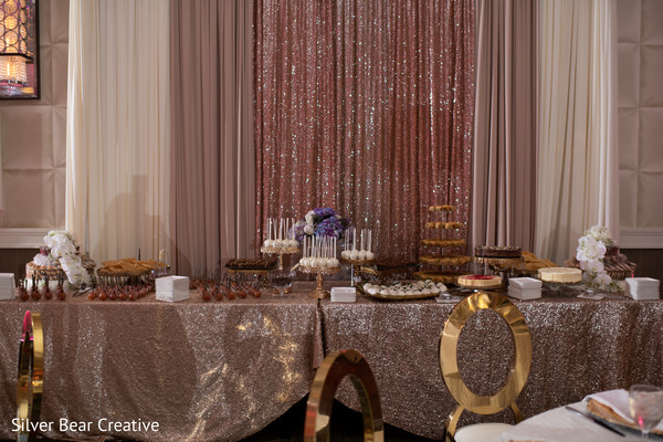 Lovely set up for the Indian wedding reception treats table.