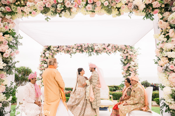 Indian bride and groom at their traditional Indian wedding ceremony.
