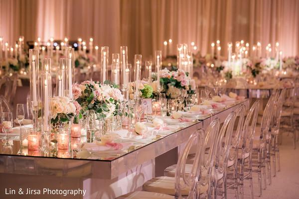Unique Indian wedding reception table centerpiece.