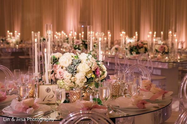 Dreamy Indian wedding table centerpiece flowers decor.