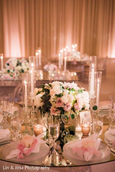 Marvelous Indian wedding reception floral centerpiece decoration.