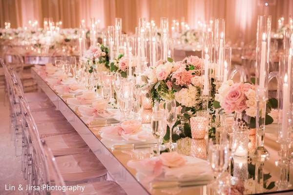 Extravagant Indian wedding reception table decor.