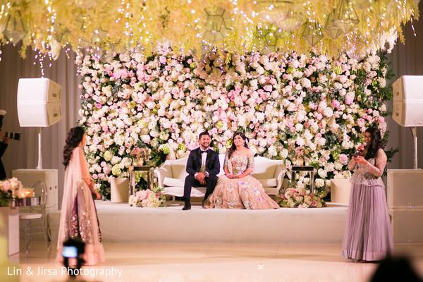Indian wedding reception speech moment capture.