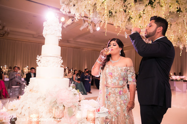 Lovely Indian couple at their reception toast.