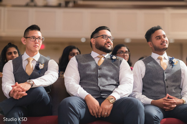 Capture of groomsmen during the ceremony