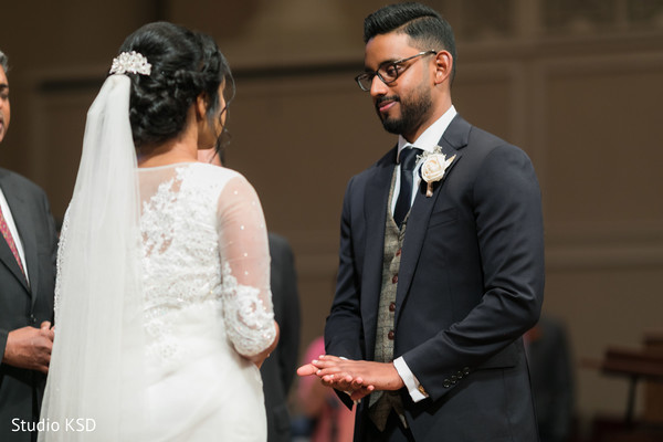 Indian bride and groom at the ceremony venue