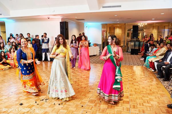 Beautiful brides performing a choreography