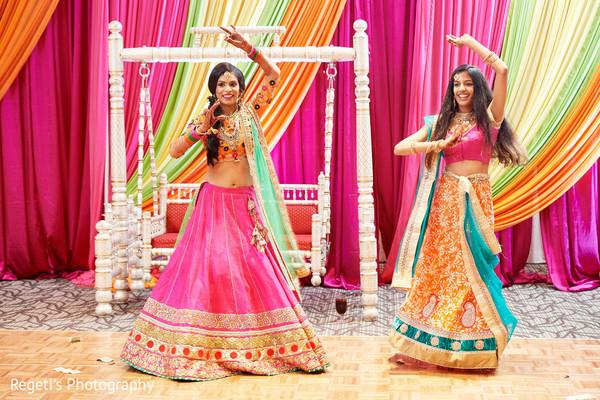 Beautiful Maharani and dancer during the Sangeet
