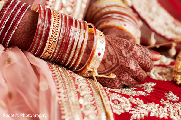 Indian bride's jewelry and mehndi