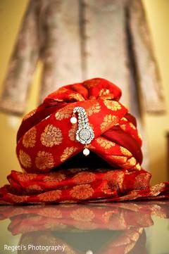 Details of elegant pagri used by Indian groom