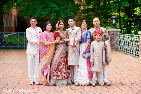 Indian groom and bride with special guests