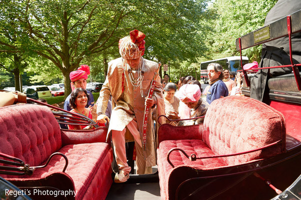 Raja riding the carriage to the ceremony