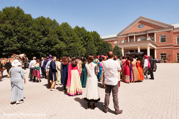 Guests outdoors before the ceremony