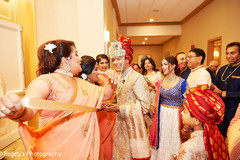 Indian groom and Indian bride with guests