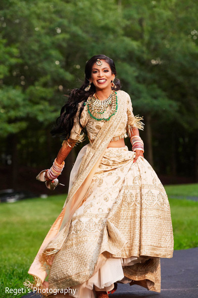 Lovely shot of Indian bride wearing the lengha