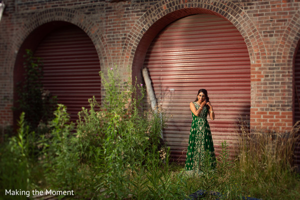 Indian bride wearing the beautiful green lengha