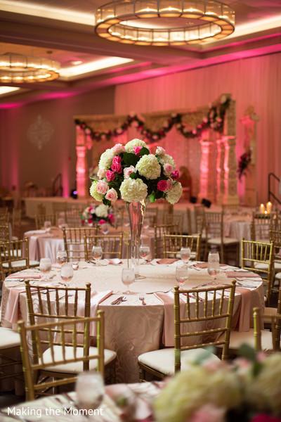 Floral arrangement at the Indian wedding reception