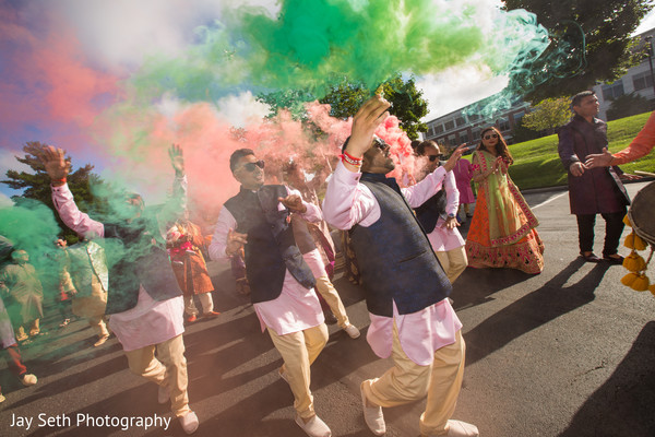 Colorful baraat procession capture.