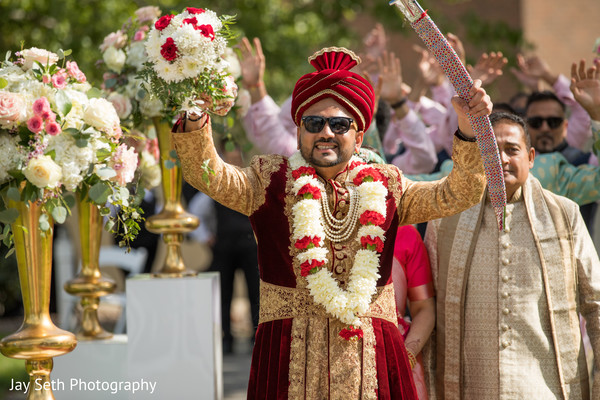 Indian groom's entrance to ceremony.