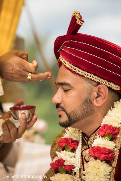 Indian groom during the Sindhoor wedding ritual.