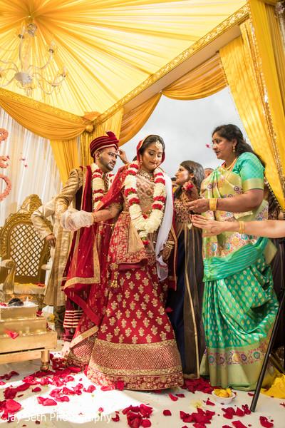 Indian bride and groom during Saptapadi ritual.
