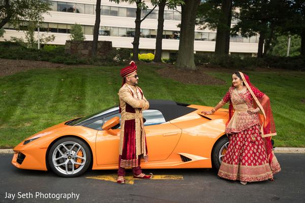 Elegant Indian bride and groom's wedding ceremony fashion.