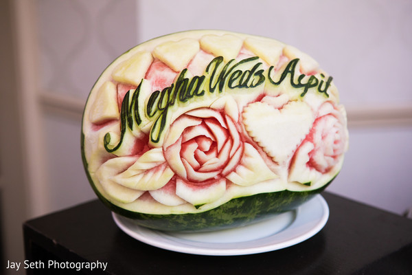 Marvelous Indian wedding carved watermelon decor.