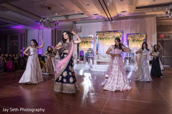 Lovely Maharani with bridesmaids reception dance.