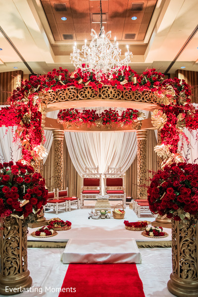 Incredible Indian wedding ceremony mandap decoration.