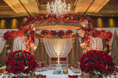 Dreamy mandap flower and lights decoration.