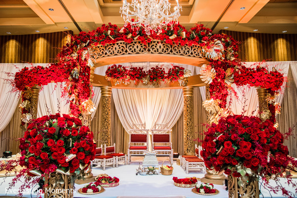 Dreamy Draped mandap and flower decoration.