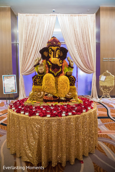 Magnificent Indian wedding Ganesha Puja  flowers decoration.