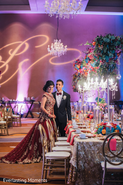Lovely Indian couple at their reception capture.