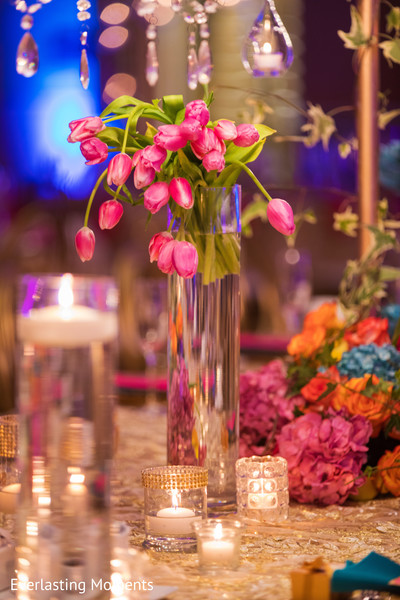 Magical Indian wedding reception flowers decoration.