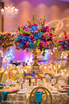 Stunning Indian wedding table centerpiece decor.