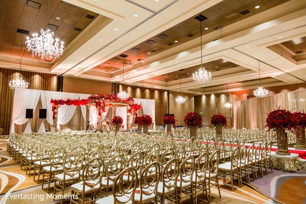 Stunning Indian wedding ceremony seats setup.