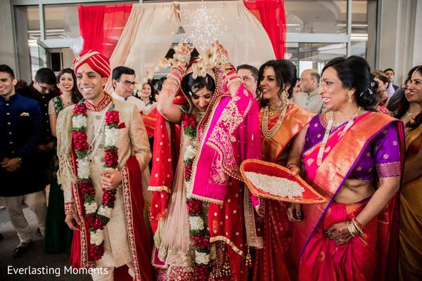 Indian bride during her Vidaai ritual.