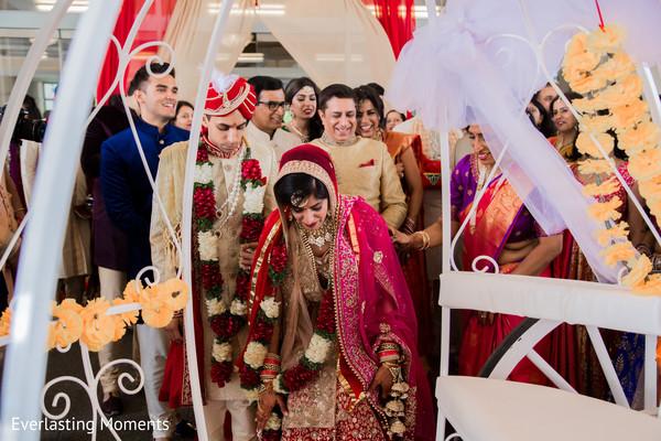 Maharani and Rajah entering her wedding carriage.