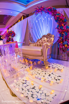 Incredible Indian wedding stage floor decoration.