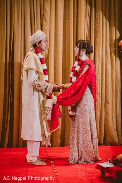 Enchanting Indian couple at their wedding ceremony.