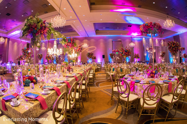 Extravagant Indian wedding reception table decor.