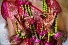 Detailed Indian bridal mehndi art.