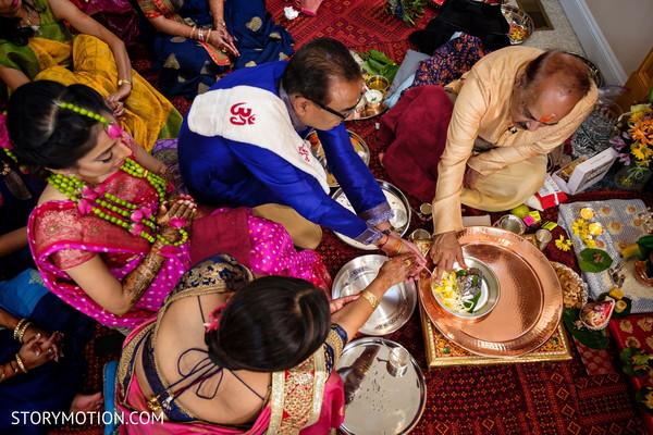See  this Indian pre-wedding haldi ritual.