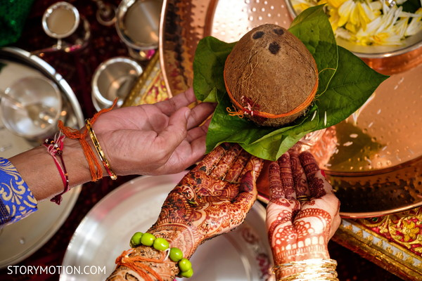 Take a look at the coconut during the haldi rituals.
