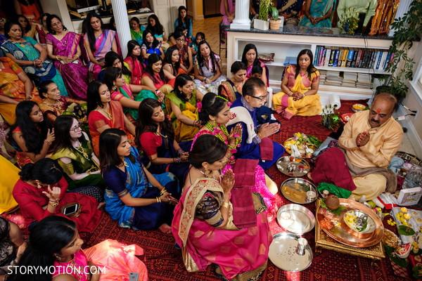 Indian bridal pre wedding ritual.